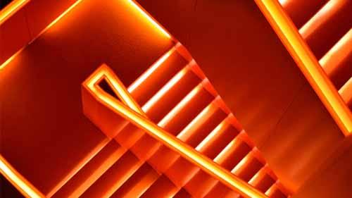 Staircase neon lighting