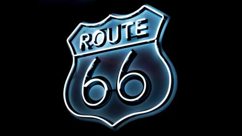 While and Blue route 66 neon sign