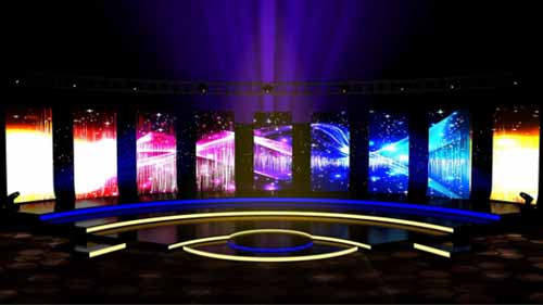 A Stage with LED Strip Lights