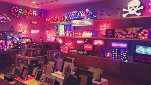 A neon sign shop