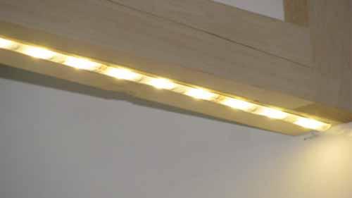 Lit led strip lights under cabinet