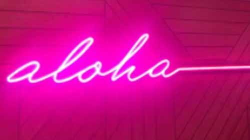 Pink 'aloha' LED neon light sign