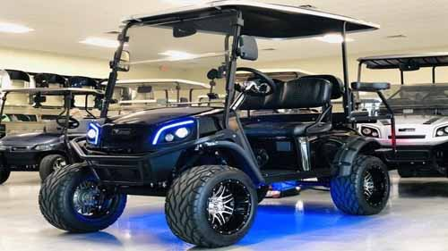 A Golf Cart with Underglow Lights