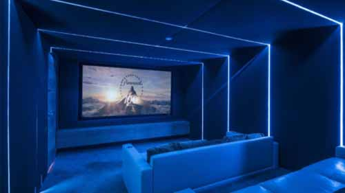 Blue neon lighting in a home theatre