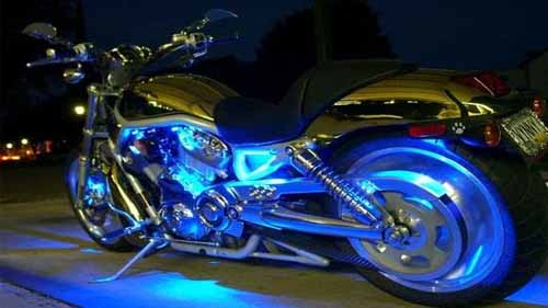 Motorcycle with Neon Lights