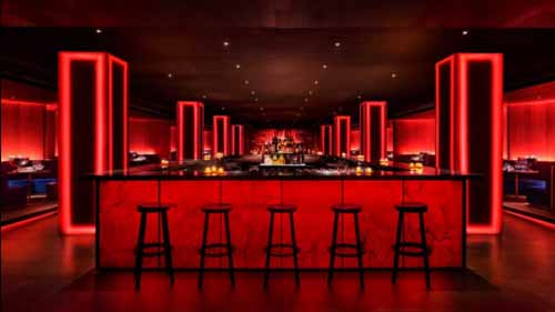 Red neon decor lighting in a bar
