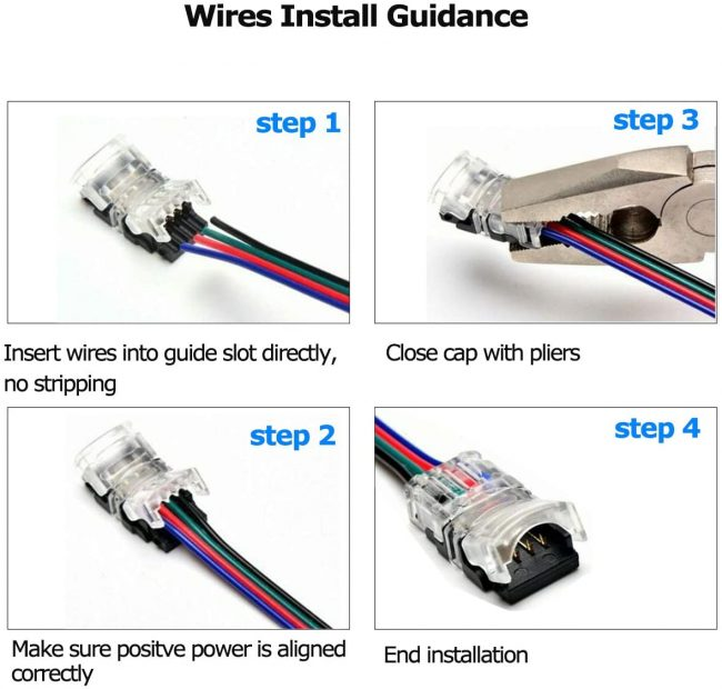 An illustration of how to install LED wire